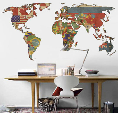 5 world map decor ideas decornotes vintage flag world map wall decal sciox Image collections