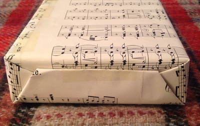 Box, sheet music, wrapping paper, upcycled