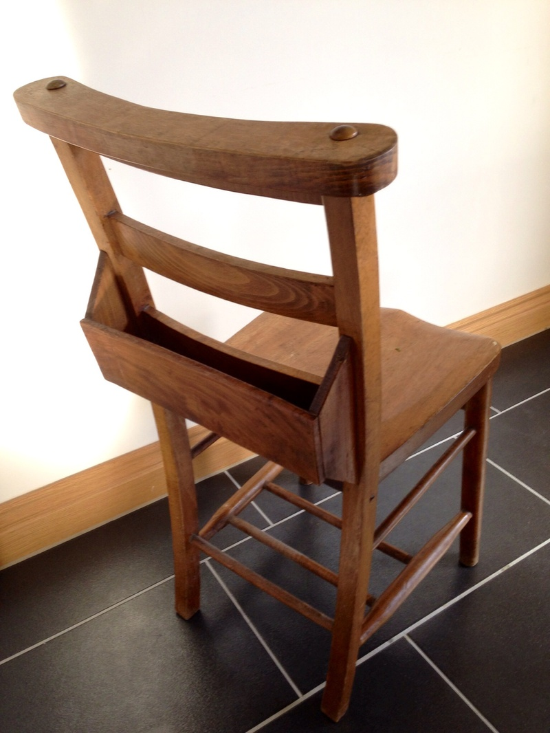 Church chair, church salvage, bible shelf church chair