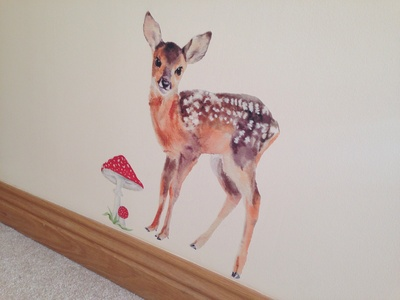 Deer sleeping by bed, kids room deer, fawn kids bedroom, cute wall stickers