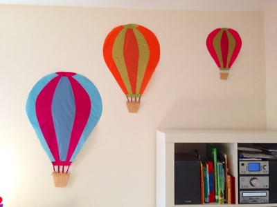 Homemade hot air balloon decoration, themes kids rooms, flight theme kids room