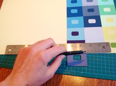 Paint samples, colours, mounting board, cutting board, craft knife, hand