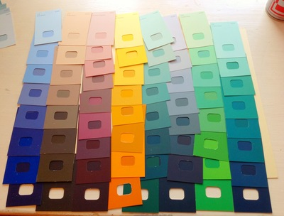 Paint samples, colours, mounting board