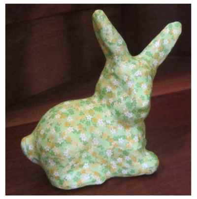 Bunny covered with decoupage paper