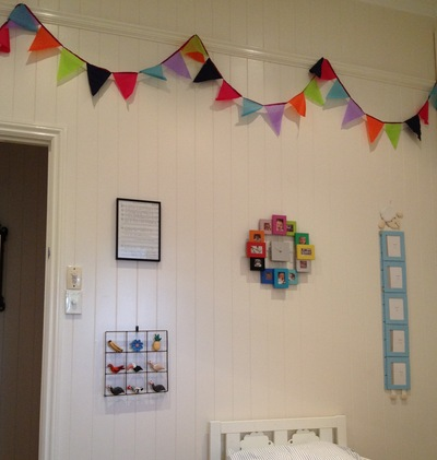 bunting, homemade bunting, kids room bunting, easy bunting, bunting, colourful bunting
