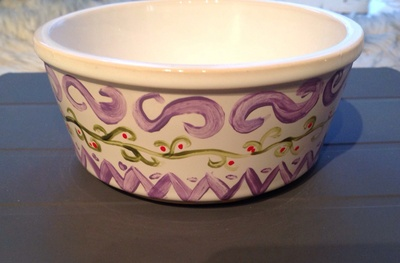 ceramic dish, purple, green, paint