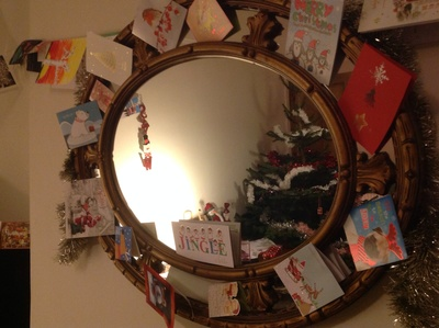 Christmas cards, mirror, reflected Christmas tree