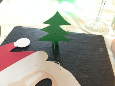 Christmas tree name card, Christmas tree place card, homemade name card, kids party table place card