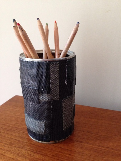 Coffee can craft, coffee can pencil pot, upcycled pencil pot, coffee tin pencil pot