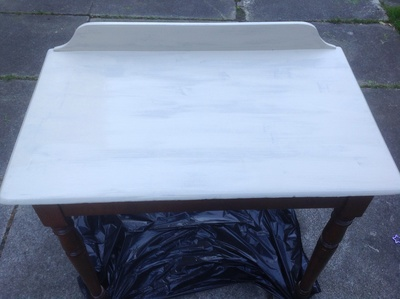 Country Grey, half-painted table, first coat