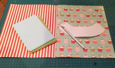 Cupcake wrapper, craft knife, scissors, paper