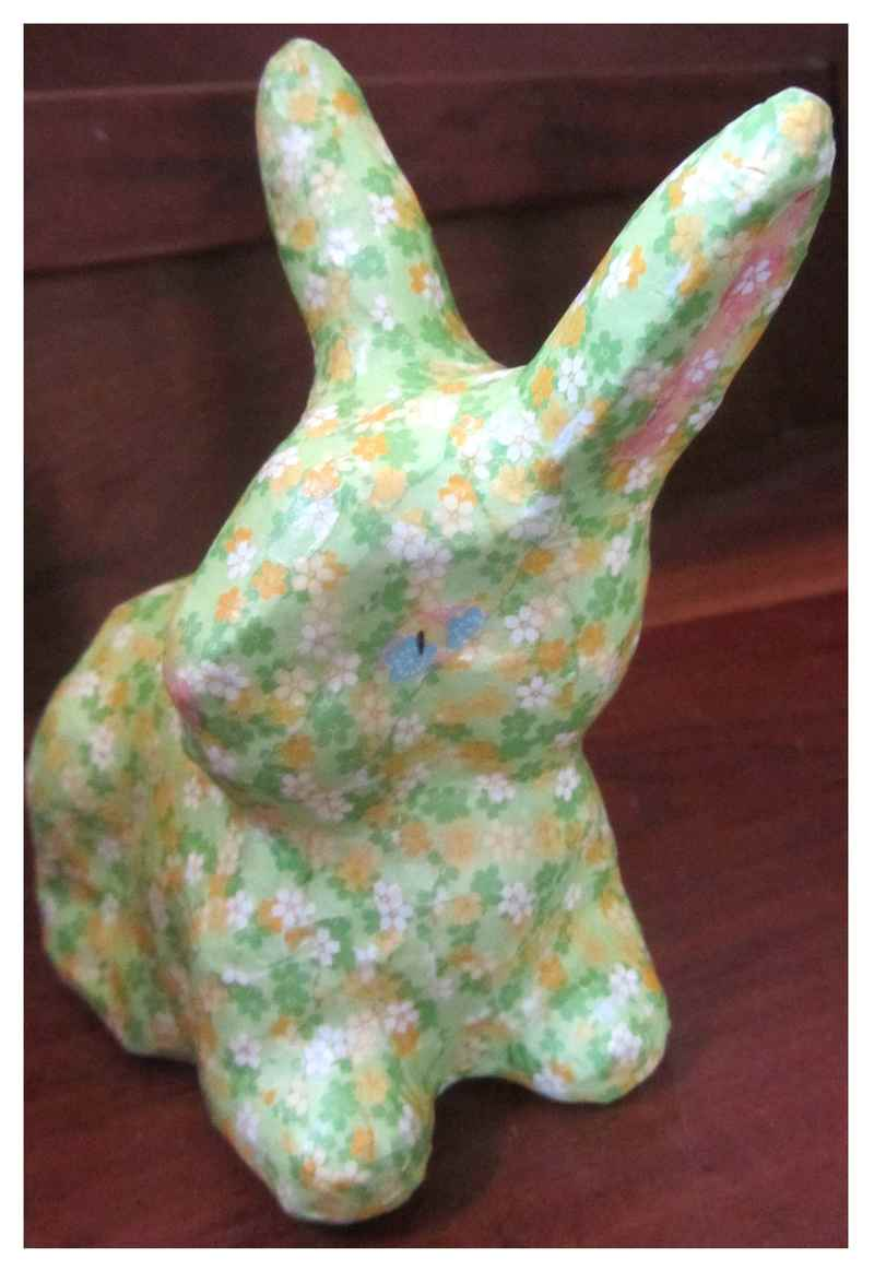 Decoupage bunny ears and eyes and nose  - Decoupage Easter Bunny