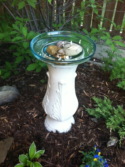 Finished bird bath