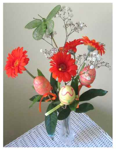 Flowers and Easter themed decorations