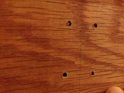 Holes in wood, making a coat rack, drilled holes