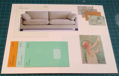miniature mood board, sofa, paint, art nouveau