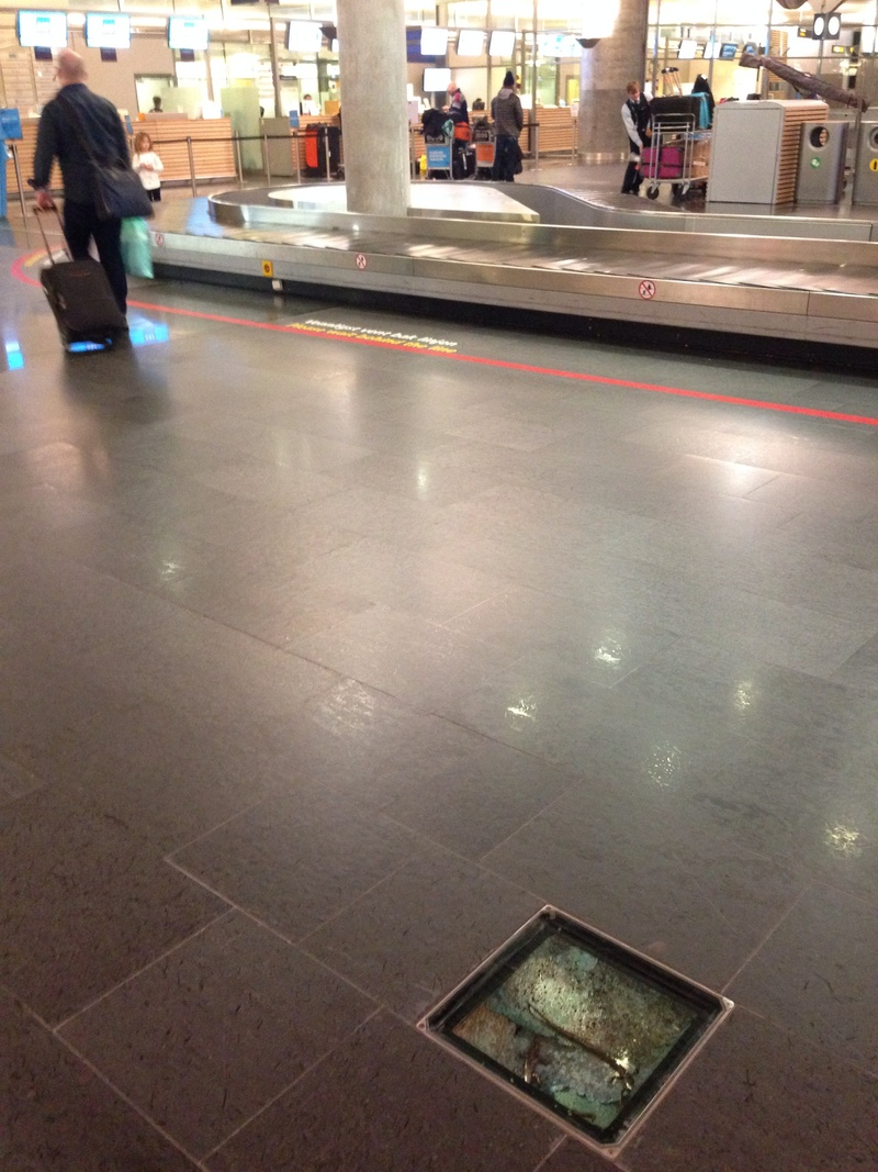 Oslo airport, airport floor display boxes, 