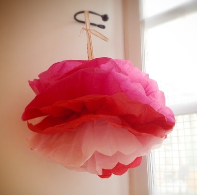 pink, red, tissue paper, pom poms, floral wire, scissors