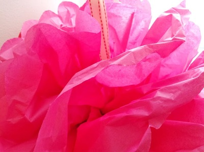pink, red, tissue paper, pom poms, floral wire