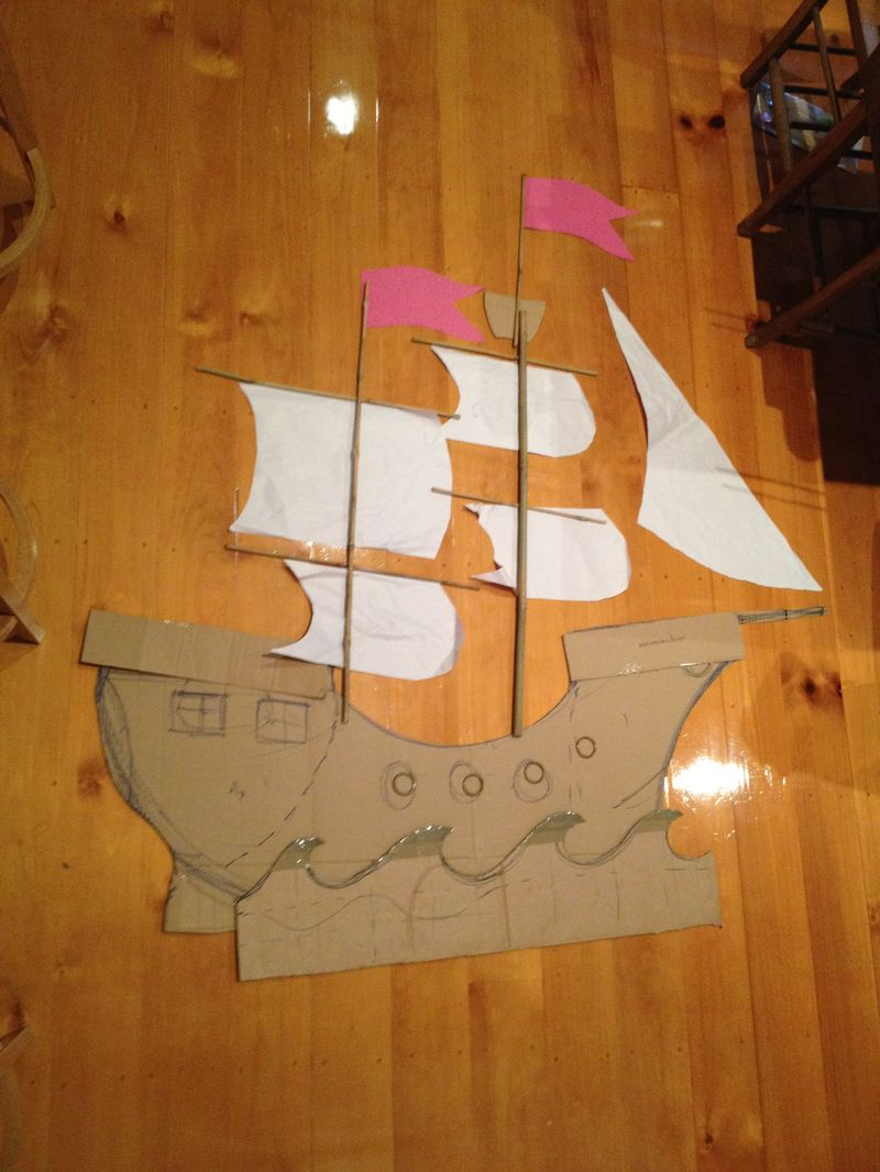 Pirate ship template cardboard pirate ship making a for Pirate ship sails template