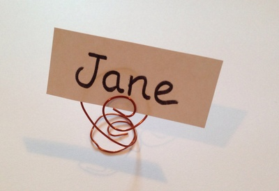 Place card holder, name plate holder, homemade place card holder, table decor, copper wire craft