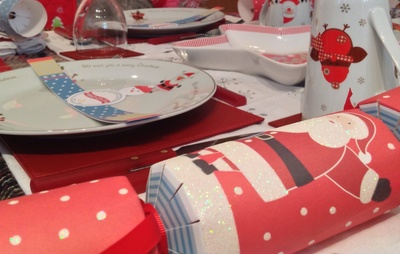 Red Christmas cracker, Christmas table decoration