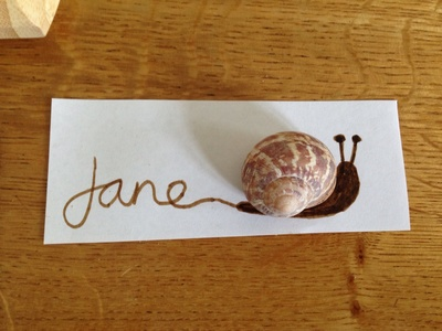 Snail, snail place card, name card, snail table card, snail name card, homemade place are for table, kids place card