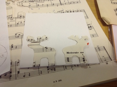 Reindeer decoration, sheet music, reindeer Christmas card