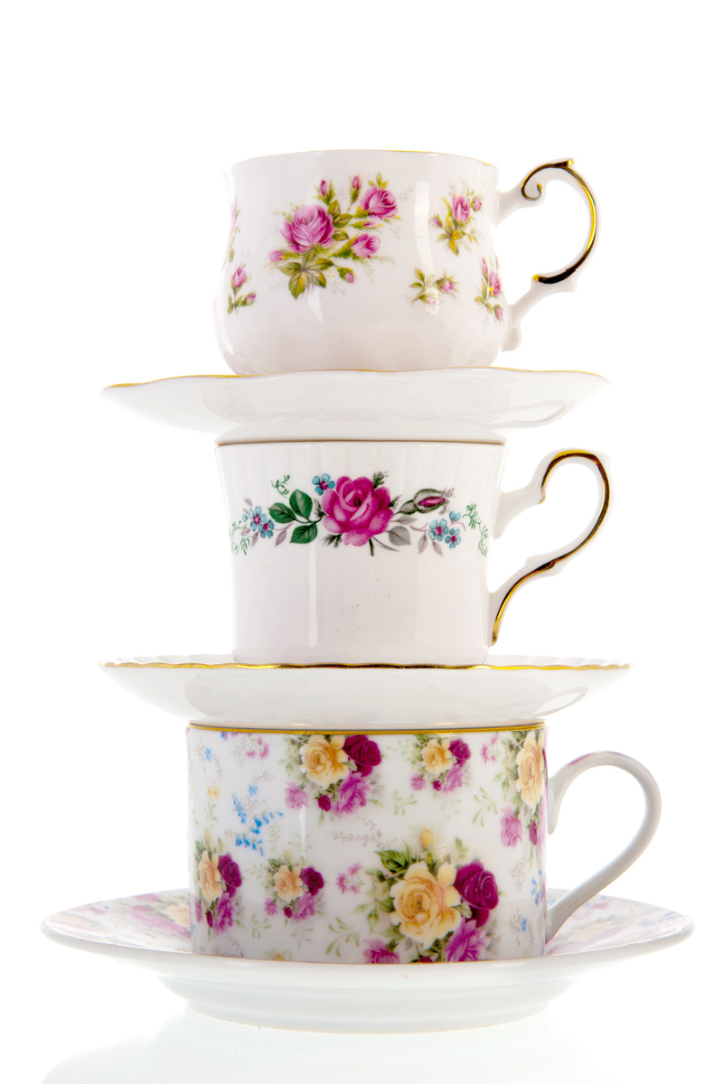 tower of vintage tea cups
