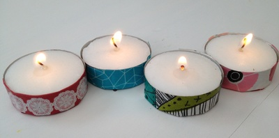 Washi tape, candle, tea light