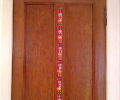 Wooden door, masking tape, Washi tape Christmas tree